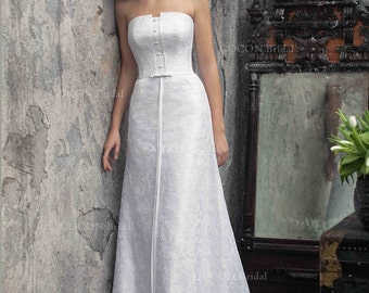 "A classic wedding dress Strapless A-line Stunning Wedding dress Atlas and lace wedding gown   - ""Kapela"""