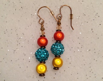 Southwest color dangle earrings