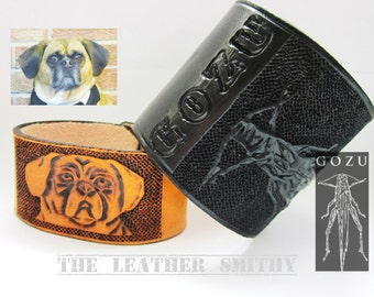 Custom Hand Tooled Leather Cuff, Leather Wristband, Personalized Cuff, Personalized Wristband