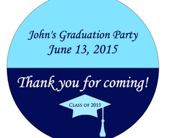 Custom Graduation Party Stickers - Graduation Thank You Stickers - Graduation Party Favor Stickers - Class of 2016