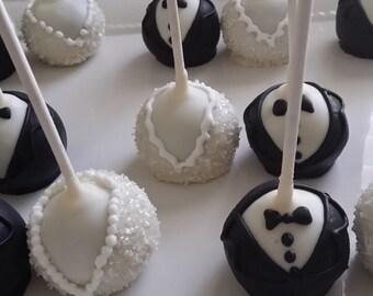12 bride and groom cake pops