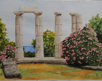 "Watercolour ""Remains of a temple in Greece"""