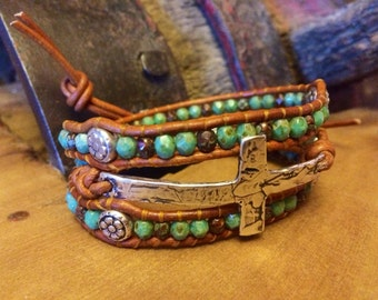 Sterling Silver Cross, Leather Wrap Bracelet, Western Jewelry, Cowgirl Jewelry, Christian Gift, Christian Jewelry