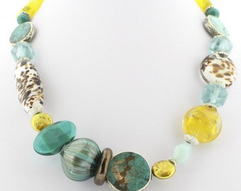 Necklace Murano Glass with Turquoise