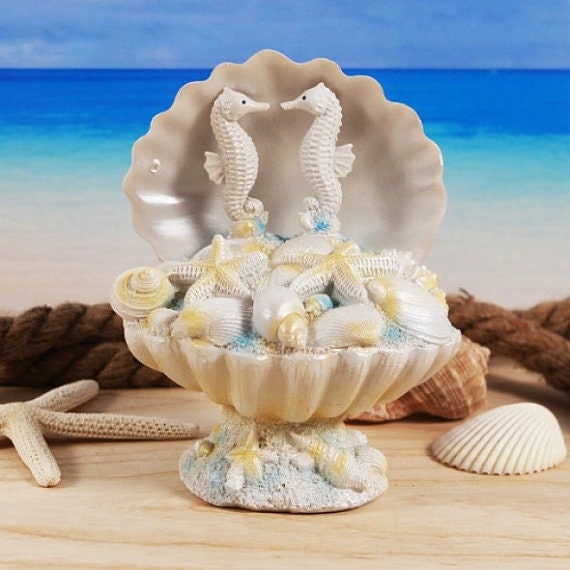 sea horse beach wedding cake topper sea shell cake topper. Black Bedroom Furniture Sets. Home Design Ideas