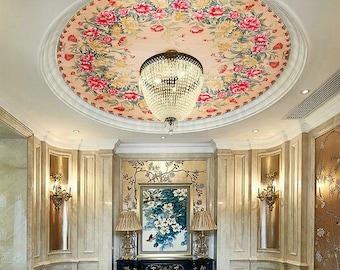 Large Wood Ceiling Mural Flower Painting,Crystal Lamp,Bedroom,Living Room,Hotel Decal 00107