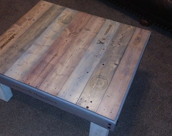Reclaimed wood coffee table., farmhouse-style coffee table,  shabby-chic furniture repurposed pallet.
