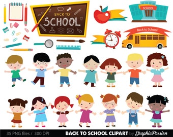 Kids at School clipart School clipart Back to school teacher clipart school bus stationary school supplies 2