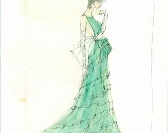 Illustration of a Lady in Green (Original)