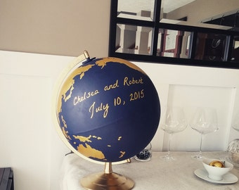 Custom Hand Painted World Globe Guestbook for Weddings or Special Occasions
