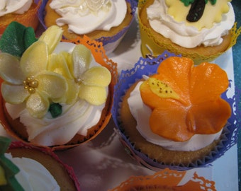 Tropical Flowers Cupcake Toppers