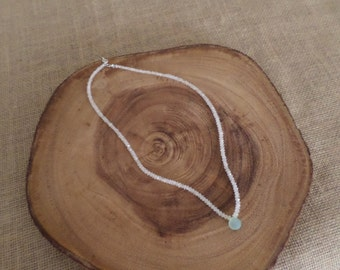 Moonstone Necklace, with blue calcedny