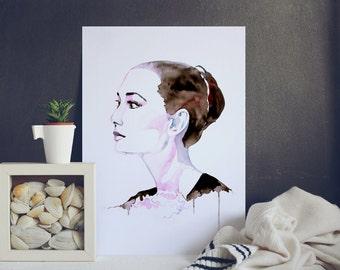 Woman Portrait - Painting - Watercolor - Beautiful Woman Print