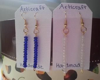 Beaded dangle earrings - Handmade