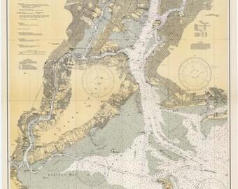 New York Harbor Historical Map 1936