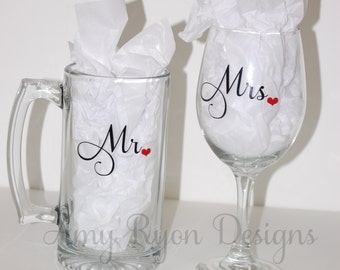 Mr. and Mrs. Beer and Wine Glasses, His and Her Drinking Glasses, Bride and Groom Gift, Custom Wedding Gift, Personalized Bridal Gift