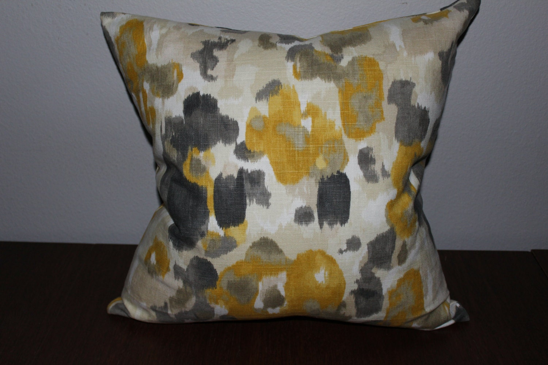 Yellow Grey Cream Pillow Cover Throw Pillow Case Floral