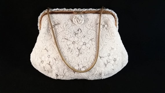 Vintage French Evening Bag Hand Beaded Floral Design of Tiny