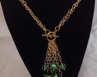 Murano Glass and Gold Chain Lariat