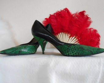 Dynamite Stiletto Shoes with Green/Black Snakeskin