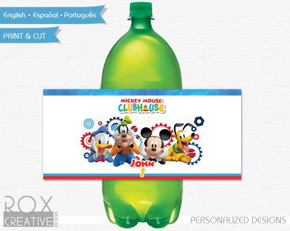 mickey mouse clubhouse birthday 2 liter soda labels printable
