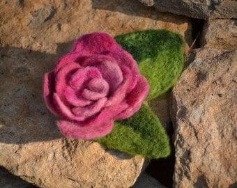 Hand Felted Flower brooch pink rose eco ornament felt jewerly art merino wool brooch OOAK