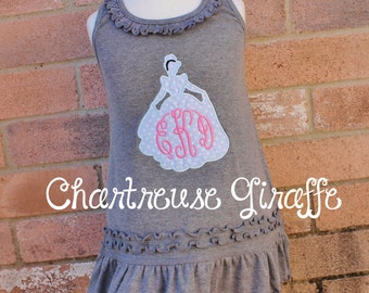 Cinderella Silhouette inspired monogrammed Sleeveless Dress. Disney trip outfit.