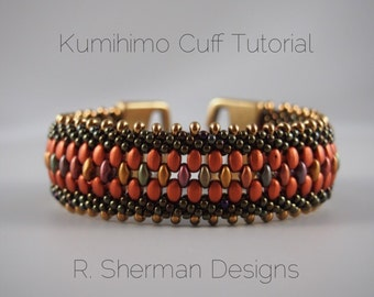 PDF TUTORIAL - Kumihimo Beaded Cuff Bracelet, Kumihimo Pattern