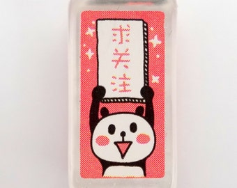 Chinese panda holding sign - 求关注 - request your attention - cute small stamp