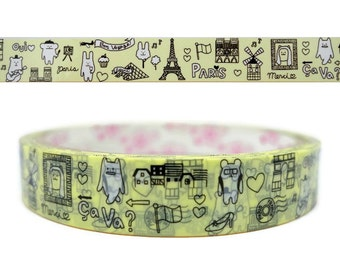 kawaii paris theme animal tape - bunny and bear - monkey and monster masking tape - 15 meters - cute cream decorative tape roll