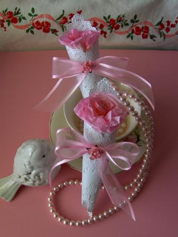 Victorian tea rose tussie rose shaped tea bag party favors for Victorian tea party supplies