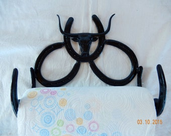 Handcrafted Wall Mounted Horseshoe Paper Towel Holder with Western Stamping