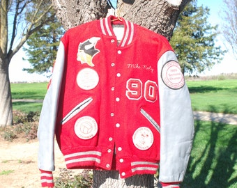 late 80s letterman jacket size 40