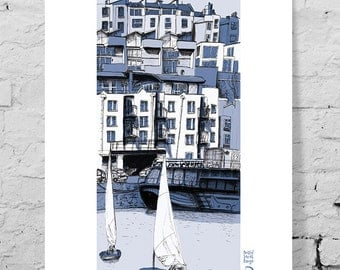 Art giclee print, harbour side docks, Bristol, UK. Street architecture, buildings, illustration, hand drawn, pen and ink