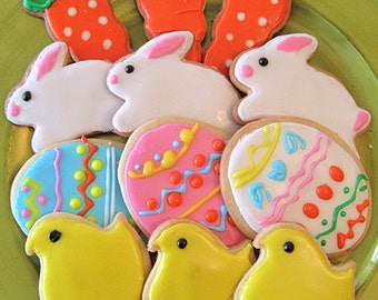 Easter Cookies,Bunny, Chick, and Carrot Cookies - 12 decorated Easter sugar cookies---Mother's Day gift