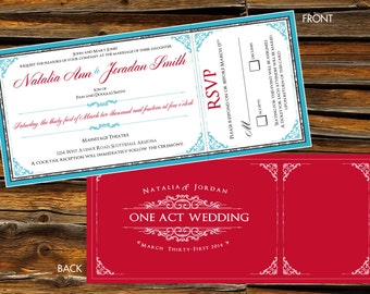 Vintage Theatre Wedding Invitation & RSVP Card - DIGITAL ARTWORK (Printable)