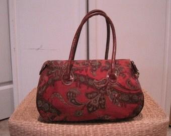 Furla Satchel Handbag Made in Italy Faux Croc and Paisley Fabric