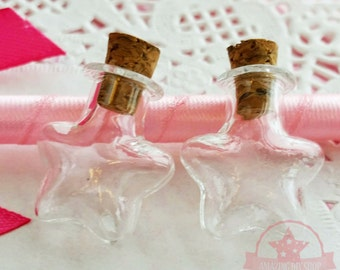 2 pcs Star Tiny Glass Bottles Vials w/ corks Jars Dollhouse Food Craft - T142