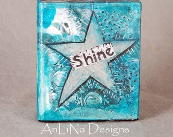 Shine Small Mixed Media Art Block 4x4x2