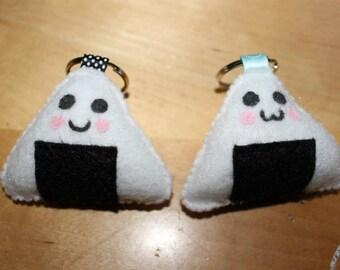 Rice Ball Onigiri Felt Keychain