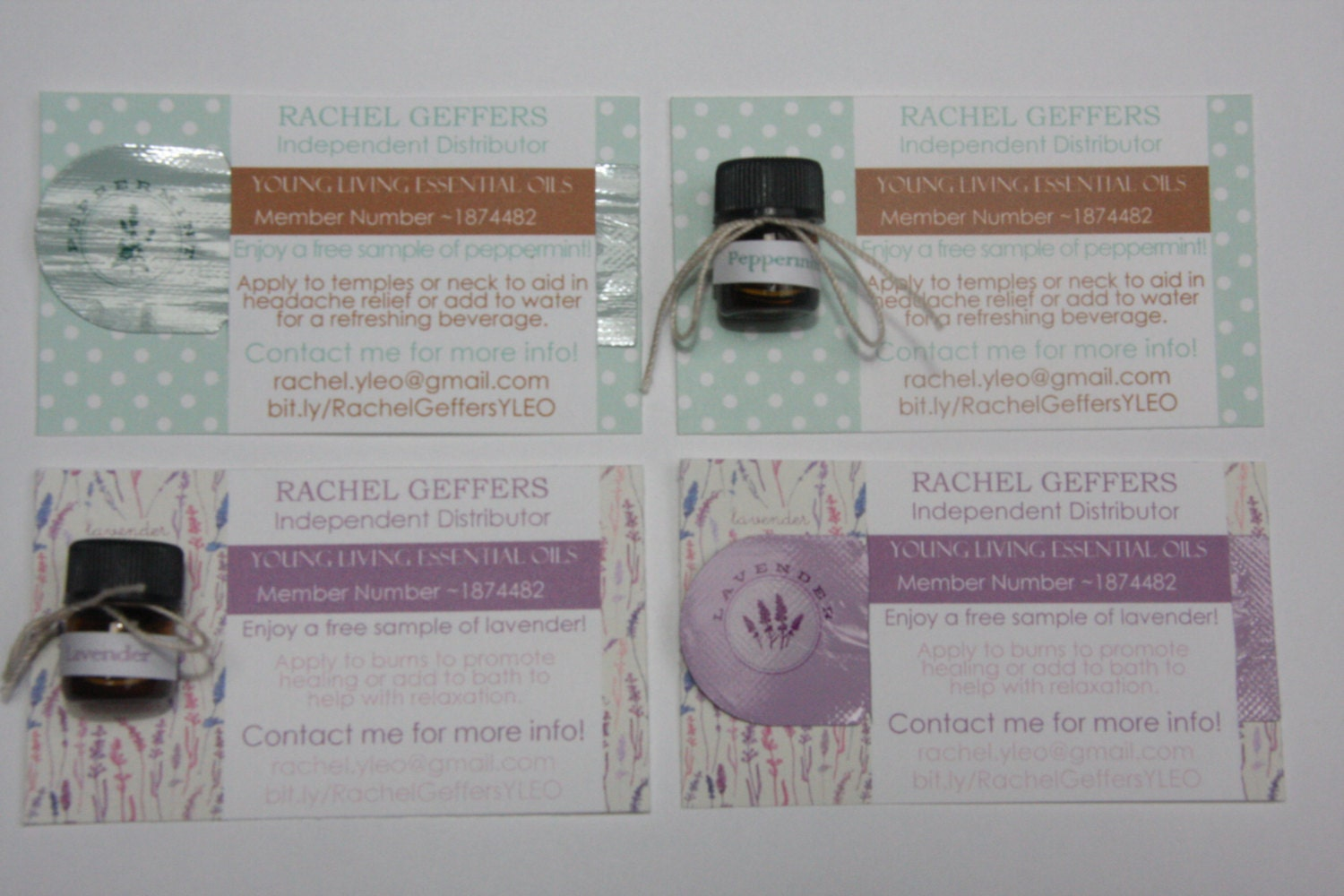 Custom Made Sample Card for Essential Oils by