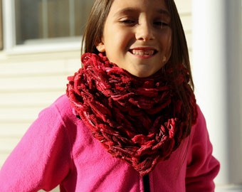 Red cowl infinity scarf, warm