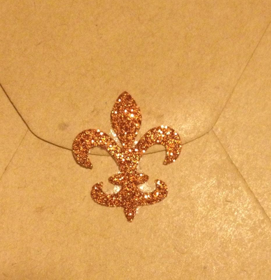 Copper glitter fleur de lis seals lot of 25 seals copper for Fleur glitter