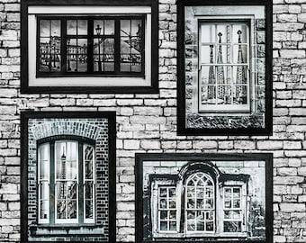 Set of four black & white - Louvre, Segrada Familia, Eiffel Tower, Seville