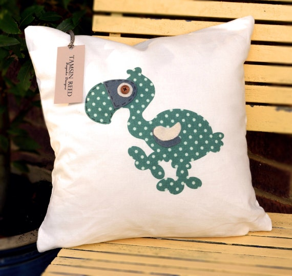 """HALF PRICE! Dodo Cushion - Green Polka/ Blue Collage/ Floral/ Pink Polka,  """"The Last of the Dodos"""" Collection, Tamsin Reed Designs"""