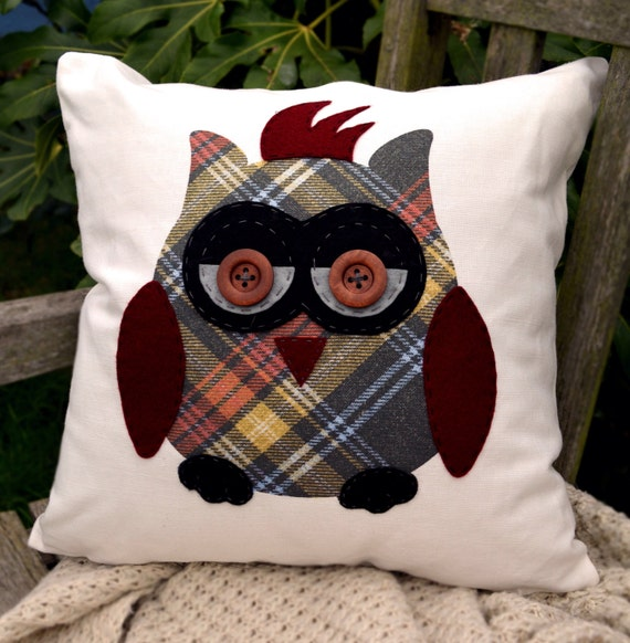 """Owl Cushion - Punk Rock! Tartan,black,grey,burgundy red. """"The Owls of Hoots"""" Collection, Tamsin Reed Designs"""