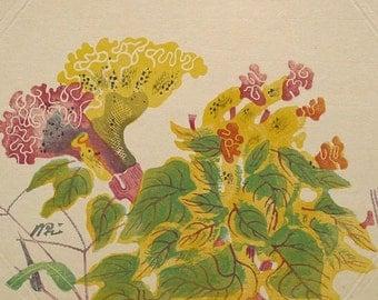 """Ukiyoe, Original Sōsaku-hanga, Woodblock print, antique, Kamei Tobei, """"Celosia argentea"""""""