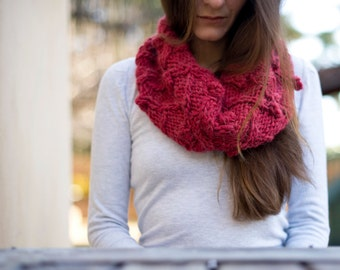 Hand Knit Soft Cowl, Womens Neck Warmer, Winter Loop Scarf