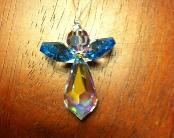 Swarovski Crystal Christmas Angel ornament,handmade, blue wings