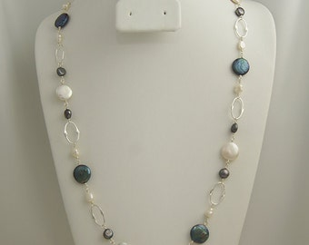 Coin Pearl & Sterling Silver Link Necklace